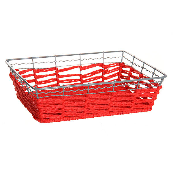 Корзинка плетёная с металлическим ободом прямоугольная 24*19 купить оптом и в розницу