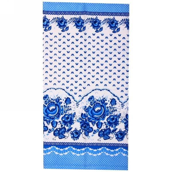 Полотенце вафельное 40*75см ″Гжель″ голубое купить оптом и в розницу