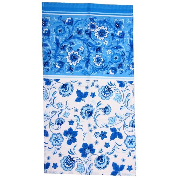 Полотенце вафельное 40*75см ″Хохломские узоры″ голубое купить оптом и в розницу