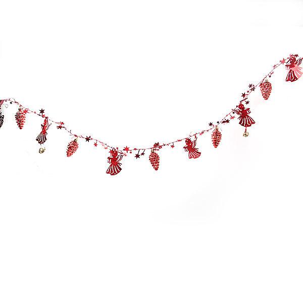 Бусы на ёлку красные 1,5м ″Ангелочки, шишки и звездочки″ купить оптом и в розницу