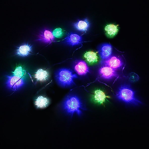 Гирлянда светодиодная на батарейках 3 х АА, 2м, 20 ламп LED, Сердце, RGB( красный,зеленый,синий) купить оптом и в розницу