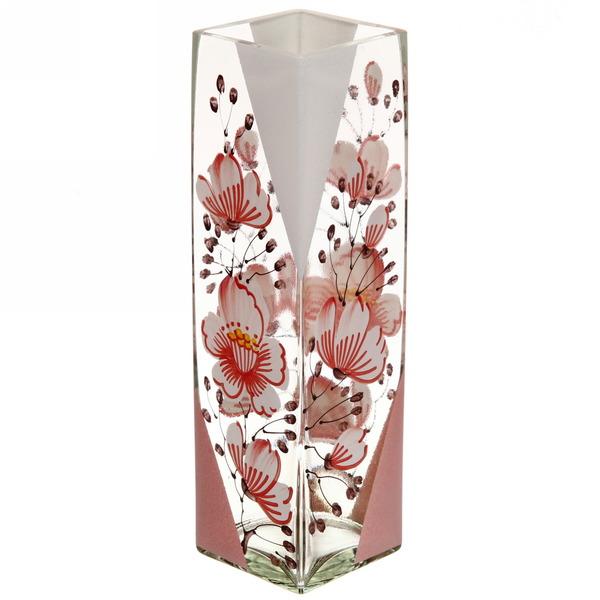 Ваза Квадрат стеклянная 30см прозрачная, ручная роспись рис. №14 купить оптом и в розницу