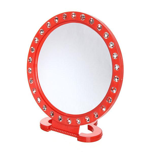 Зеркало настольное в пластиковой оправе ″Белые выемки″ круг, подвесное d-20см купить оптом и в розницу