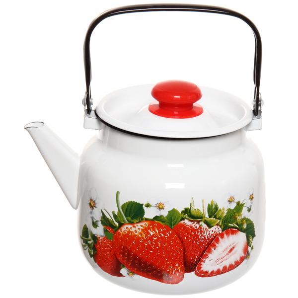 Чайник эмалированный 3,5л ″Сочная клубника″ купить оптом и в розницу