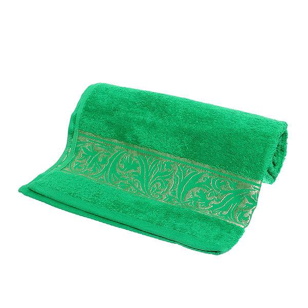 Махровое полотенце 70*140см зеленая листва с бордюром ЭК140 купить оптом и в розницу