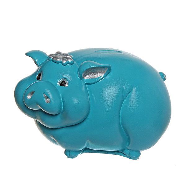 Копилка Свинка мал. (бирюза с серебром) 22*14см. купить оптом и в розницу