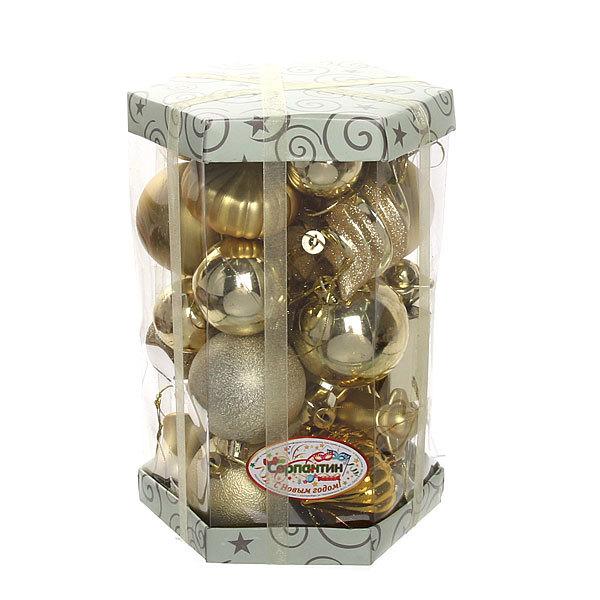 Елочные игрушки, набор 30 шт ″Золотое ассорти″ золото купить оптом и в розницу