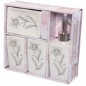 Набор для ванной из 4-х предметов керамический, цветок со стразами купить оптом и в розницу