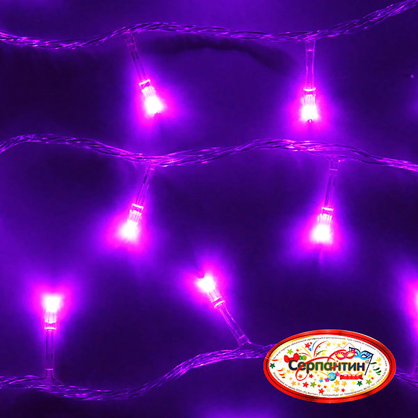 Гирлянда светодиодная 9,5м,100 ламп LED, Фиолетовый, 8 реж, прозр.пров., с возм.совмещ. купить оптом и в розницу