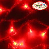 Гирлянда светодиодная 9,5м,100 ламп LED, Красный, 8 реж, прозр.пров., с возм.совмещ. купить оптом и в розницу