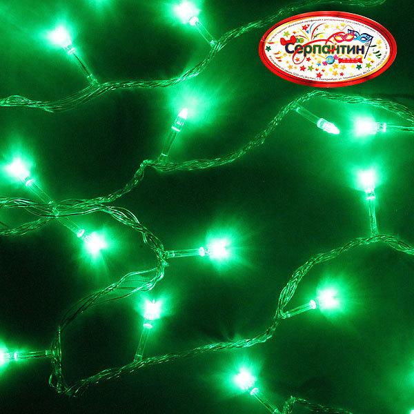 Гирлянда светодиодная 9,5м,100 ламп LED, Зеленый, 8 реж, прозр.пров., с возм.совмещ. купить оптом и в розницу