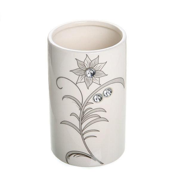 Набор для ванной из 4-х предметов керамический, белый со стразами купить оптом и в розницу