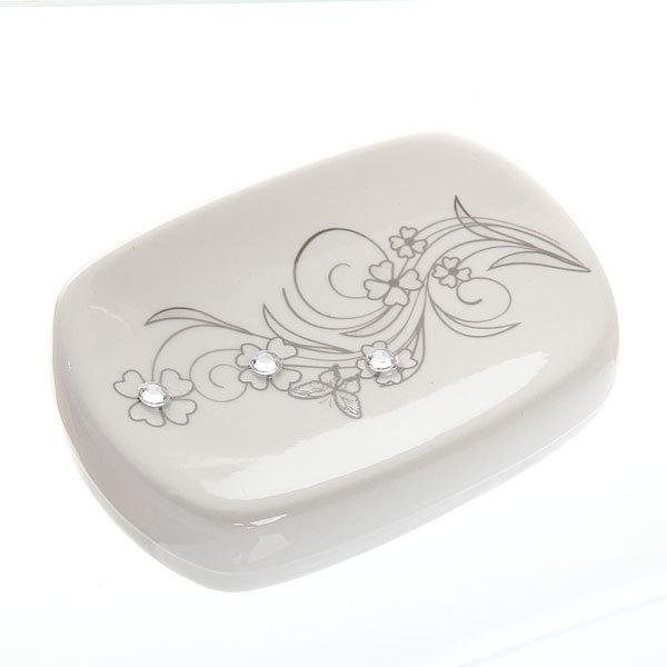Набор для ванной из 4-х предметов керамический, букет со стразами купить оптом и в розницу