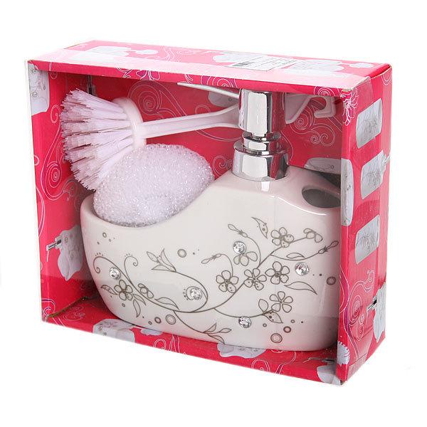 Дозатор для жидкого мыла с подставкой под губку, веточка с цветами B14195 купить оптом и в розницу