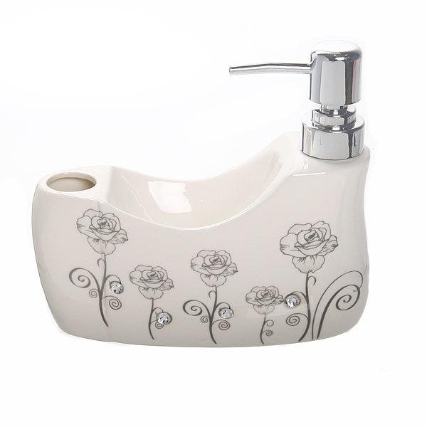 Дозатор для жидкого мыла с подставкой под губку, розы B14197 купить оптом и в розницу