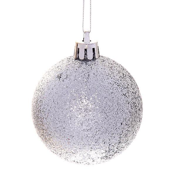 Новогодние шары ″Серебро узор″ 6см (набор 16шт.) купить оптом и в розницу