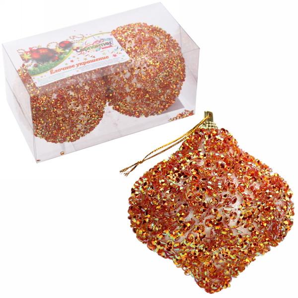 Новогодние шары ″Золотая юла″ 8см (набор 2шт.) купить оптом и в розницу