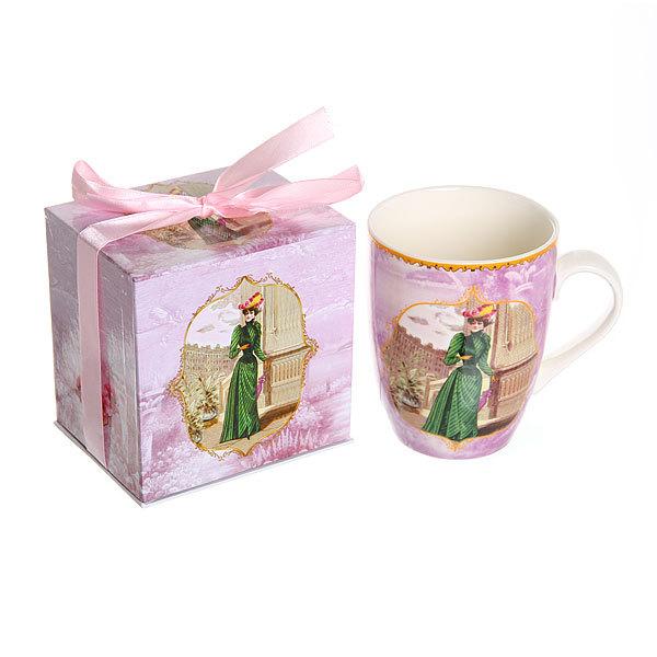 Кружка керамическая 350мл ″Дамы ретро″ в розовой коробке купить оптом и в розницу
