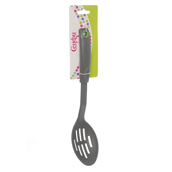 Ложка кухонная с прорезями пластиковая 30 см ″Grey″ Селфи купить оптом и в розницу