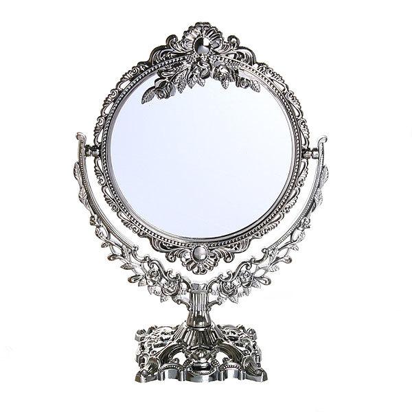 Зеркало настольное в пластиковой оправе ″Версаль - Круг″ цвет антрацит, двухстороннее 27см купить оптом и в розницу