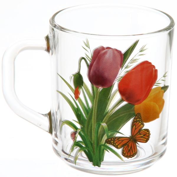 Кружка 250мл ″Тюльпаны-бабочки″ лепковая деколь (6/6) 8437/006 купить оптом и в розницу
