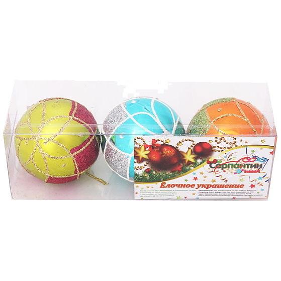Новогодние шары ″Золотой ромб″ 6см (набор 3шт.) купить оптом и в розницу