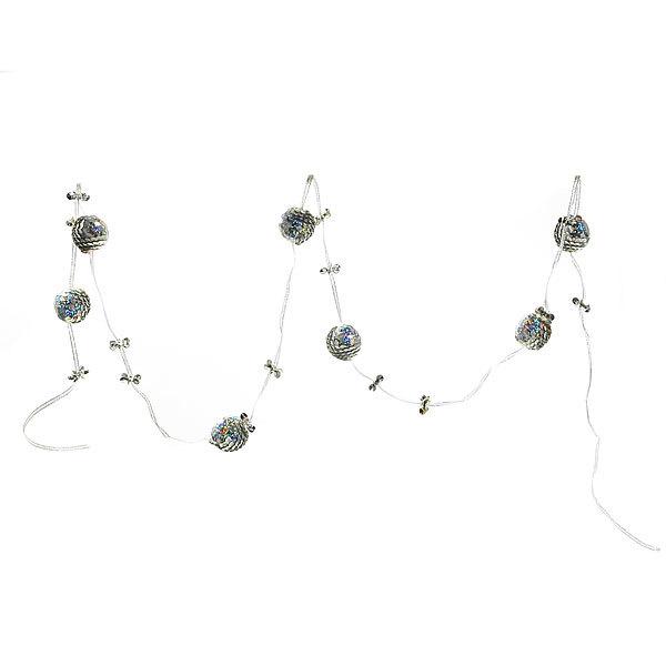 Бусы на ёлку серебро 1,5м ″Шарики и бабочки″ купить оптом и в розницу