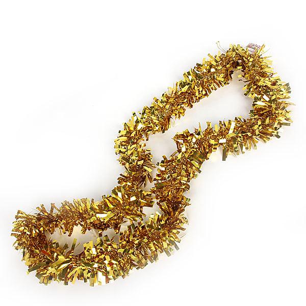 Мишура новогодняя 2 метра 10см ″Праздничный огонек″ золото купить оптом и в розницу