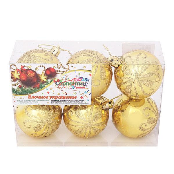 Новогодние шары (6шт) d-6см золото 6ac6-n84 купить оптом и в розницу