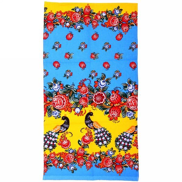 Полотенце вафельное 40*75см ″Городецкая роспись″ голубое купить оптом и в розницу
