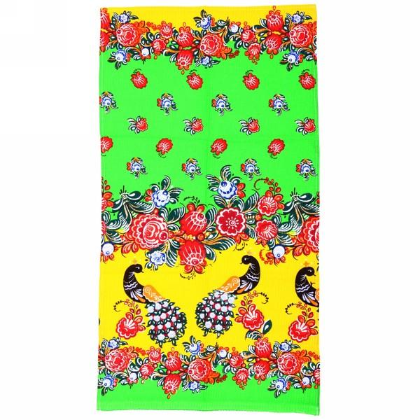 Полотенце вафельное 40*75см ″Городецкая роспись″ зеленое купить оптом и в розницу