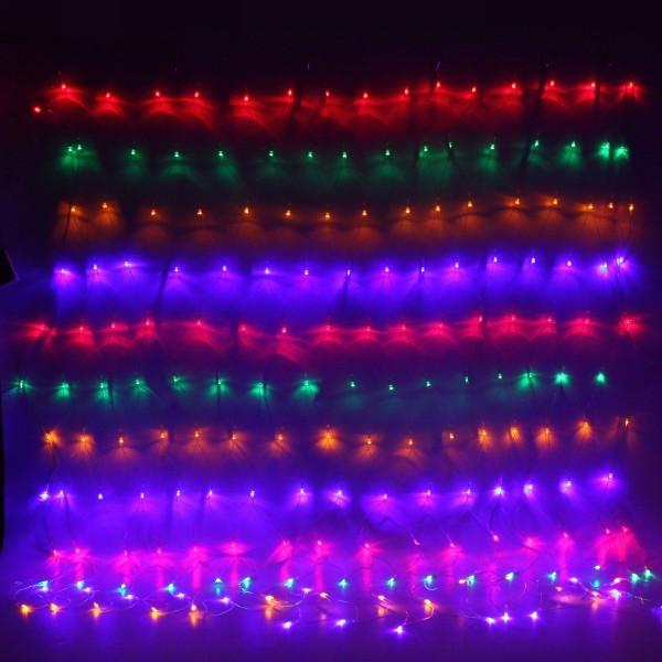 Сетка светодиодная для дома 1,5 х 1,5 м, 160 ламп Мини, Мультицвет, 4 режима, прозр.пров. купить оптом и в розницу