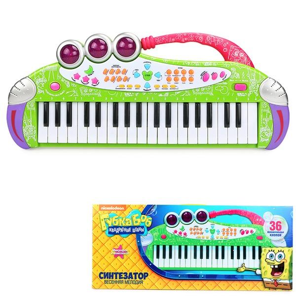 Синтезатор  Губка Боб Весенняя мелодия с микрофоном  SPB0908-005 купить оптом и в розницу