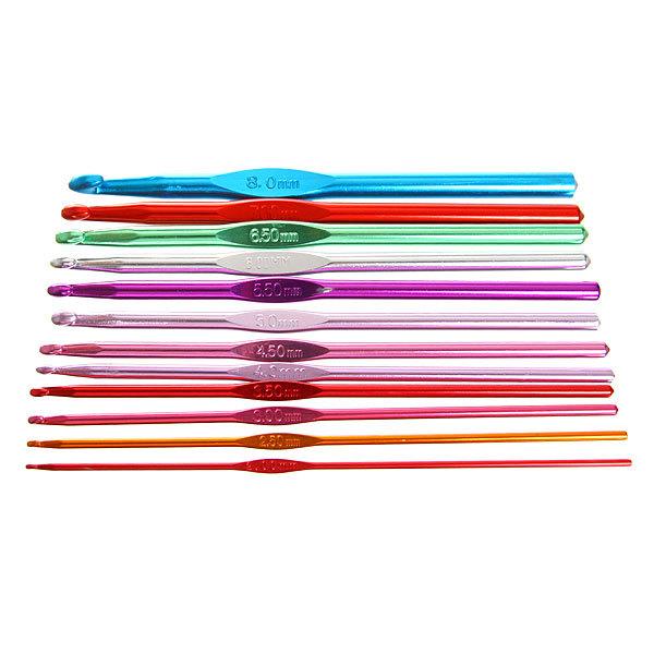 Крючок вязальный алюминиевый набор от2,0мм до 8,0мм 12шт купить оптом и в розницу