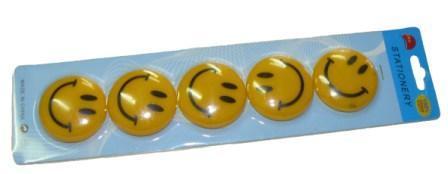 """Магниты д/досок D-40мм YIWU """"Смайлики"""" 5шт желтые купить оптом и в розницу"""