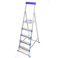 Стремянка металлическая 5 ступеней, высота до платформы 1085 мм, вес 6,9 кг, до 150 кг, для рыхлых поверхностей СМ5+ НИКА купить оптом и в розницу