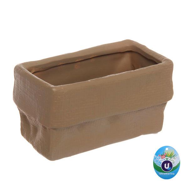 Кашпо для цветов садовое ″Холст″ 16х9см″ YE13040-2 белый/коричневый купить оптом и в розницу