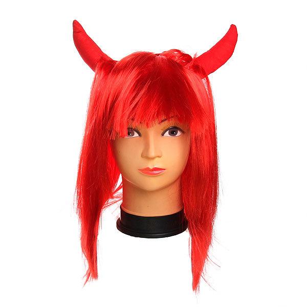Парик карнавальный ″Дьяволица″ красный цв 999-1 купить оптом и в розницу