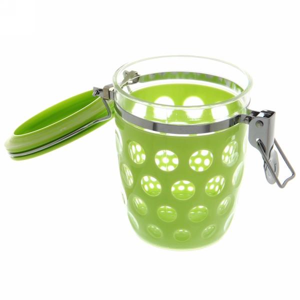 Банка для продуктов пластиковая с зажимом 600мл ″Круги″ зеленая купить оптом и в розницу