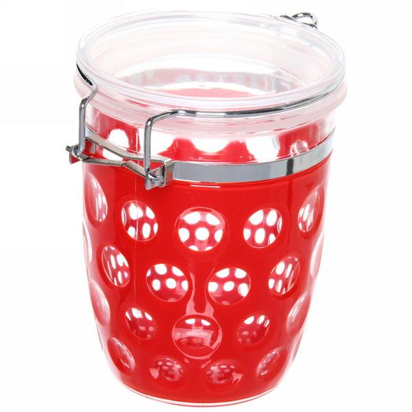 Банка для продуктов пластиковая с зажимом 600мл ″Круги″ красная купить оптом и в розницу