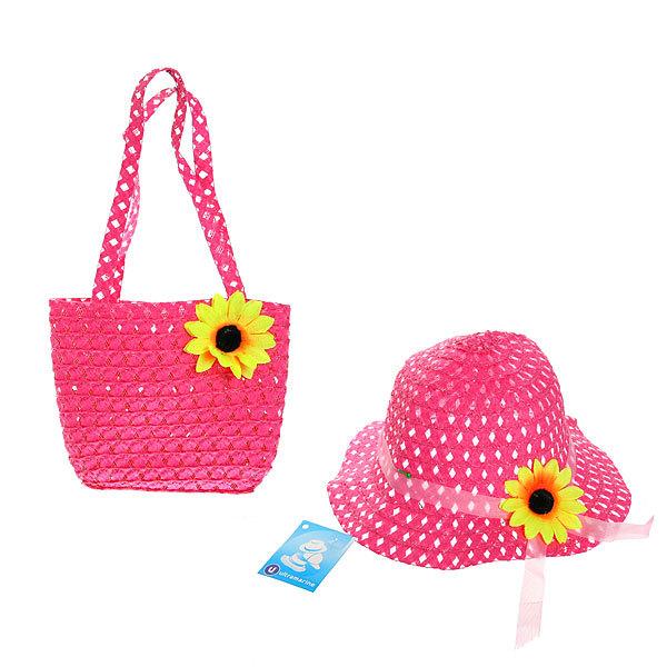 Шляпа в наборе с пляжной сумочкой ″Солнечное лето″, цвет розовый купить оптом и в розницу