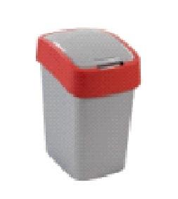 Контейнер для мусора 10 л FLIP BIN Curver серебристый/красный/*4 шт купить оптом и в розницу