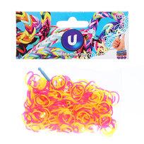 Резинки для плетения 300шт 2-х цветные микс цветов с крючком и S-клипсами купить оптом и в розницу
