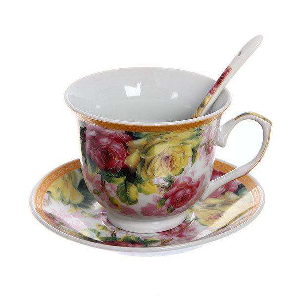 Чайный набор 4 предмета (2 кружки, 2блюдца+ложка) на металлической подставке 4 купить оптом и в розницу
