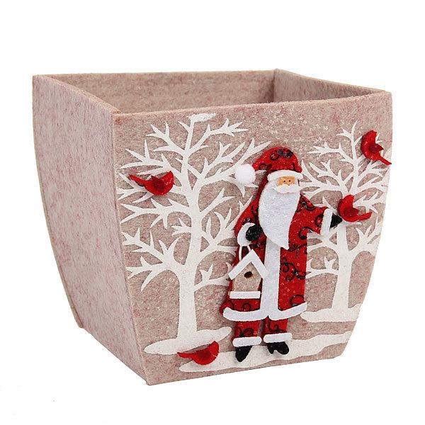 Корзинка подарочная 14*14*10 см ″Дед мороз″ купить оптом и в розницу