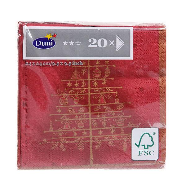 Салфетки бумажные Новогодние DUNI 3-сл. 24 см GOLDEN TREE BORDEAUX, 20 шт. 12 уп/кор 163782 купить оптом и в розницу