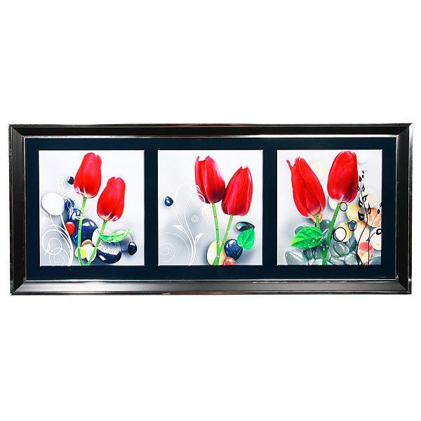 Картина пластик 40*90см тройная ″Тюльпаны″ НА5446/47/48 купить оптом и в розницу