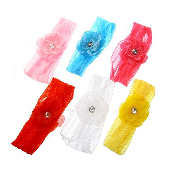 Резинка для создания греческой прически ″Цветок со стразиком″, цвет микс купить оптом и в розницу