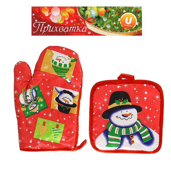 Прихватка в наборе с варежкой ″Новогодняя″ Снеговик в шляпе Серпантин купить оптом и в розницу