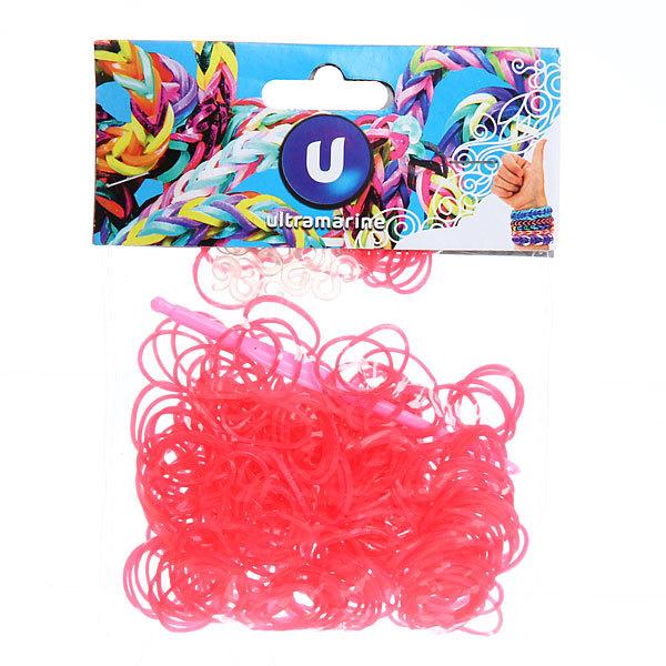 Резинки для плетения 300шт розовый неон с крючком и S-клипсами купить оптом и в розницу
